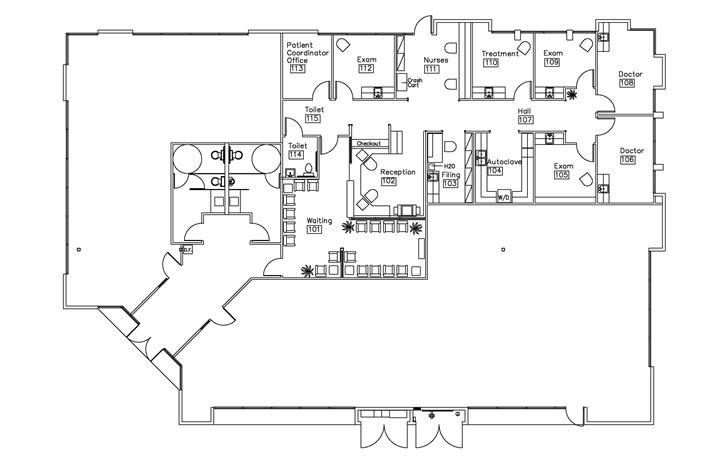 Plastic surgery center healthcare interior design for Floor plans health care facilities